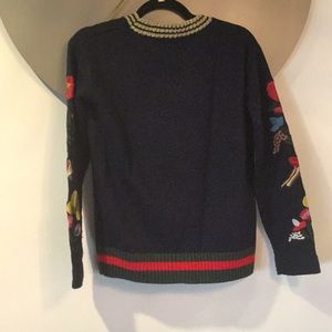 Central Park West Sweaters - Crew Neck Sweater w/ patches, and stripes